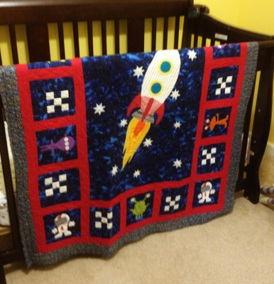 Trucks trains and rocket ships quilts for little boys for Outer space quilt